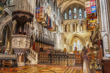 Interior of Saint Patrick Cathedral in Dublin, Ireland