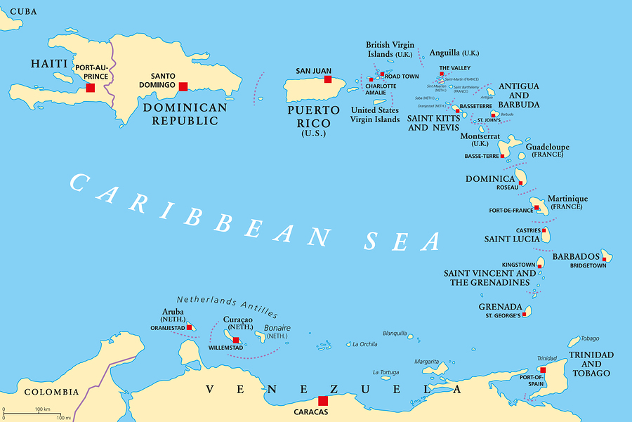 The Caribbean with Haiti, the Dominican Republic and Puerto Rico in the Caribbean Sea with capitals and national borders.