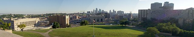 Panoramic view taken from the hill by the Liberty Tower WWI Memorial by Eric B. Johnson