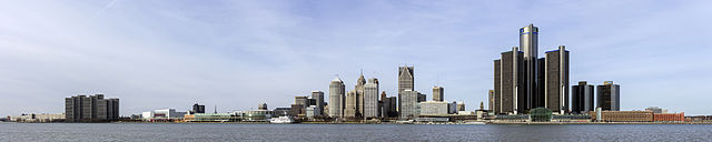 Skyline of Detroit, Michigan from the South Dec. 2014 by Crisco 1492