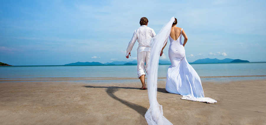 Couple on beach at wedding destination