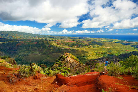 View of Waimea Canyon, also known as Grand Canyon of the Pacific, Kauai