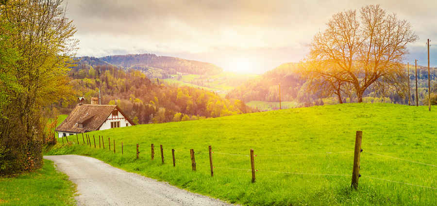 Europe travel in spring countryside