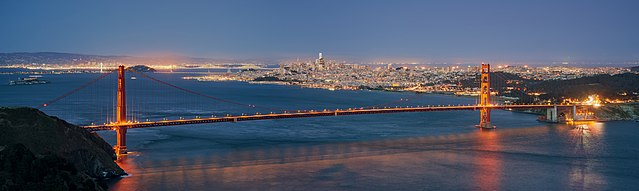 The Golden Gate Bridge and San Francisco as seen from Hawk Hill during blue hour by Daniel L. Lu