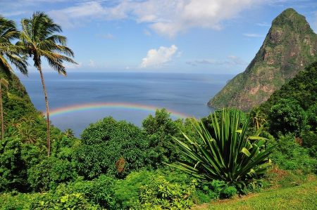 St. Lucia Island view of Petit Piton