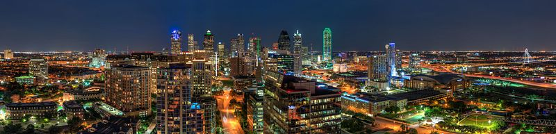Bleu Ciel panoramic nightview of Downtown Dallas by skys the limit2