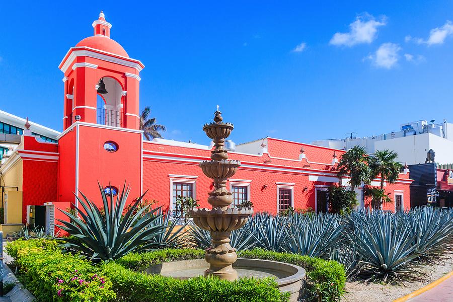 Cancún, Mexico - Colonial Building And Aloe Vera Plantation
